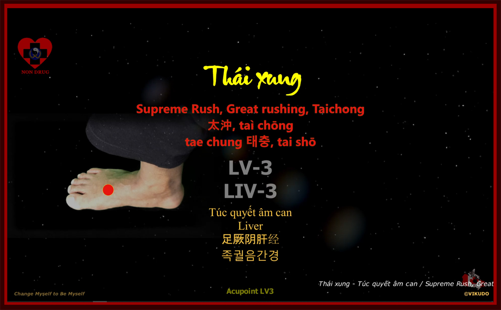 Acupoint LV3 _ Supreme Rush, Great rushing, Taichong – Liver _ LV-3, Liv-3